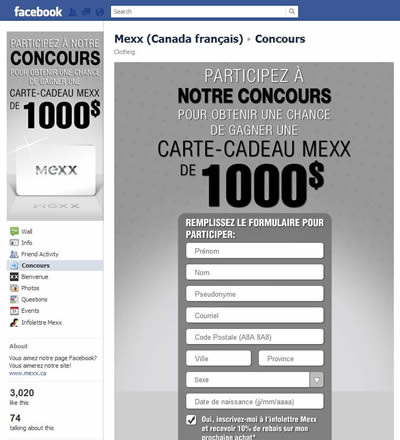 Mexx Canada Concours Viral